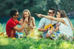 Les jeunes ayant le pique-nique près de la rivière Images stock