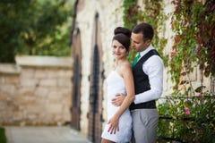 Les jeunes beaux couples élégants heureux sur le fond verdissent l'orphie Photo libre de droits
