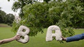 Les jeunes beaux couples ont l'amusement dans un parc en été Dater romantique ou lovestory banque de vidéos