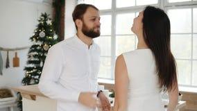 Les jeunes couples attrayants heureux dans l'amour dansent ensemble en leur appartement élégant par l'arbre de Noël Beaux jeunes clips vidéos