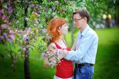 Les jeunes couples dans l'amour marchant au ressort se développant font du jardinage Photos libres de droits