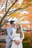 Les jeunes couples dans l'amour pendant l'automne garent tenir des mains et regarder chacun Photo stock