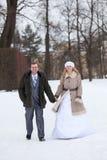 Les jeunes couples de mariage marchant en hiver neigeux se garent, des mains de prise de jeunes mariés Image stock