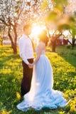 Les jeunes couples embrassant au coucher du soleil en ressort de floraison font du jardinage Amour et thème romantique Photographie stock