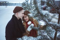 Les jeunes couples embrassant parmi des arbres ont couvert la neige Loisir en parc Tasses de café dans des mains Photographie stock libre de droits