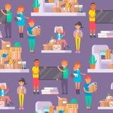 Les jeunes couples heureux dirigent les personnes plates rapprochant en appartement de mouvement de nouvelle maison Service mobil Photo libre de droits
