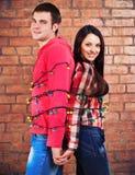 Les jeunes couples heureux s'approchent du mur de briques avec la guirlande Photo stock