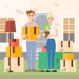 Les jeunes couples se déplaçant à la nouvelle maison dirigent l'illustration Photographie stock libre de droits