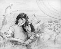 Les jeunes dans l'amour - croquis Images libres de droits