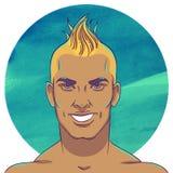 Les jeunes de sourire ont bronzé le type avec une coiffure de Mohawk illustration de vecteur