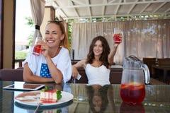 Les jeunes deux meilleurs amis heureux de femmes appréciant la récréation chronomètrent tout en se reposant dans le café dans le  Image stock