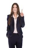 Les jeunes drôles ont isolé la femme d'affaires dans le costume montrant à quelque chose l'esprit photos stock
