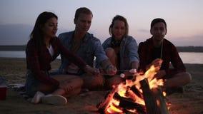 Les jeunes et gais amis s'asseyant sur les guimauves sauvages de plage et de friture s'approchent du feu Ils semblent heureux et  banque de vidéos