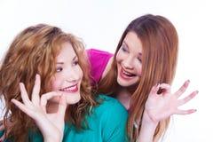 Les jeunes expositions gaies de filles approuvent le geste Photos libres de droits