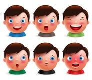 Les jeunes expressions du visage d'avatar d'enfant de garçon ont placé des têtes mignonnes d'émoticône Photo libre de droits