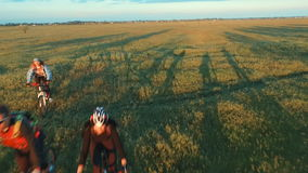 Les jeunes faisant un cycle sur des bicyclettes par le champ vert et jaune de pré d'été clips vidéos