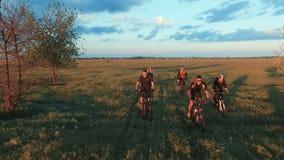 Les jeunes faisant un cycle sur des bicyclettes par le champ vert et jaune de pré d'été banque de vidéos