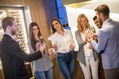 Les jeunes grillant avec du vin blanc Photo libre de droits