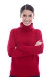 Les jeunes heureux ont isolé la femme dans un pull rouge de laine Photo stock