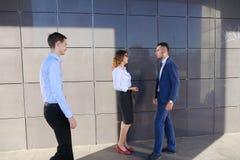 Les jeunes hommes d'affaires attirants d'adultes, étudiants rencontrés et discutent Photos stock
