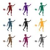 Les jeunes impliqués dans le badminton Le jeu du badminton avec un associé l'active folâtre l'icône simple dans le vecteur noir d Image stock