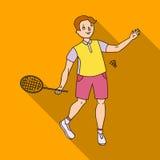 Les jeunes impliqués dans le badminton Le jeu du badminton avec un associé Les sports olympiques choisissent l'icône dans le vect Image stock