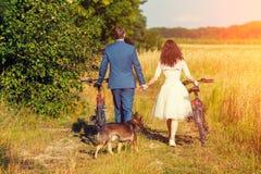 Les jeunes jeunes mariés heureux portent des vélos photographie stock