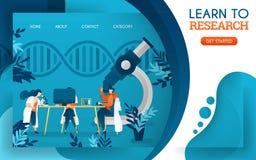 Les jeunes médecins étudient la recherche à l'aide des ordinateurs et des microscopes Illustration plate de vecteur de bande dess illustration de vecteur