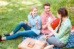 Les jeunes mangeant et buvant pendant le pique-nique Photographie stock libre de droits