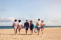 Les jeunes marchant sur la plage portant une boîte plus fraîche Images stock
