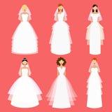 Les jeunes mariées dirigent l'ensemble Illustration plate Photographie stock libre de droits