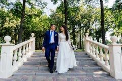 Les jeunes mariés descendant les escaliers en parc Le jeune marié embrasse la jeune mariée Couples de mariage dans l'amour au jou Images libres de droits
