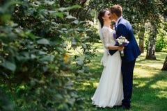 Les jeunes mariés embrassant et embrassant photographie stock