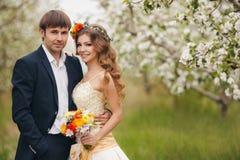 Les jeunes mariés en parc luxuriant au printemps Photos stock