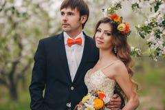 Les jeunes mariés en parc luxuriant au printemps Image stock
