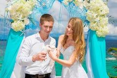 Les jeunes mariés heureux avec les colombes blanches sur une plage tropicale u Image stock