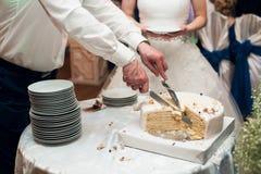 Les jeunes mariés ont coupé le gâteau Photographie stock