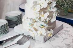 Les jeunes mariés ont coupé le gâteau Photos stock