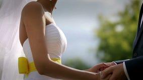 Les jeunes mariés prennent les mains de chacun au coucher du soleil Mouvement lent banque de vidéos