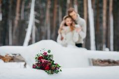 Les jeunes mariés reposent sur l'identifiez-vous le plan rapproché de forêt d'hiver marié de mariée wedding à l'extérieur l'hiver photo stock
