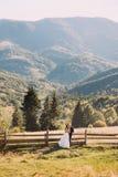 Les jeunes mariés se tenant sur le pont en bois en nature, embrassant près de la barrière avec le fond de montagne Photographie stock libre de droits