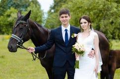 Les jeunes mariés se tiennent en parc près du cheval, épousant la promenade Robe blanche, ajouter heureux à un animal Fond vert Photographie stock