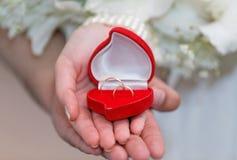 Les jeunes mariés tenant une boîte ouverte avec des anneaux Image libre de droits