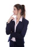 Les jeunes ont isolé la femme d'affaires assez songeuse pensant à son f image libre de droits