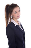 Les jeunes ont isolé la femme d'affaires assez songeuse pensant à son f photos libres de droits