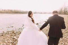 Les jeunes ont juste marié des couples marchant de retour tenant des mains sur la côte de rivière photos libres de droits