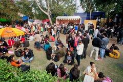 Les jeunes ont l'amusement sur la pelouse pendant le festival populaire Images libres de droits