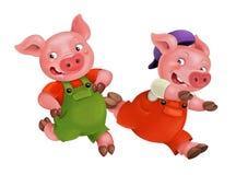 Les jeunes porcs d'isolement par bande dessinée dans le travail équipent le fonctionnement - d'isolement illustration de vecteur