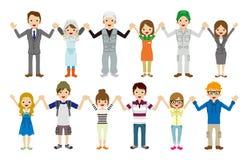 Les jeunes retenant des mains illustration de vecteur