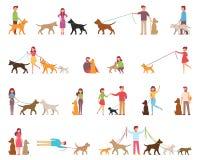 Les jeunes sont les chiens de marche Variété de roches Le chien est à côté de son propriétaire sur une laisse Illustration de vec Photographie stock libre de droits